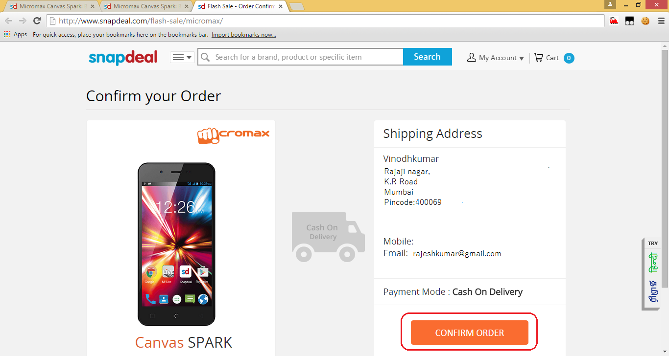 MicromaxCanvasSpark_Order_Confirmation_page_button
