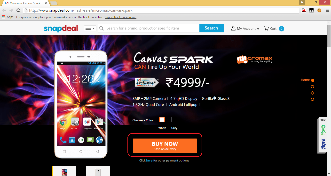 MicromaxCanvasSpark_Timer_page_After_BuyNow_button