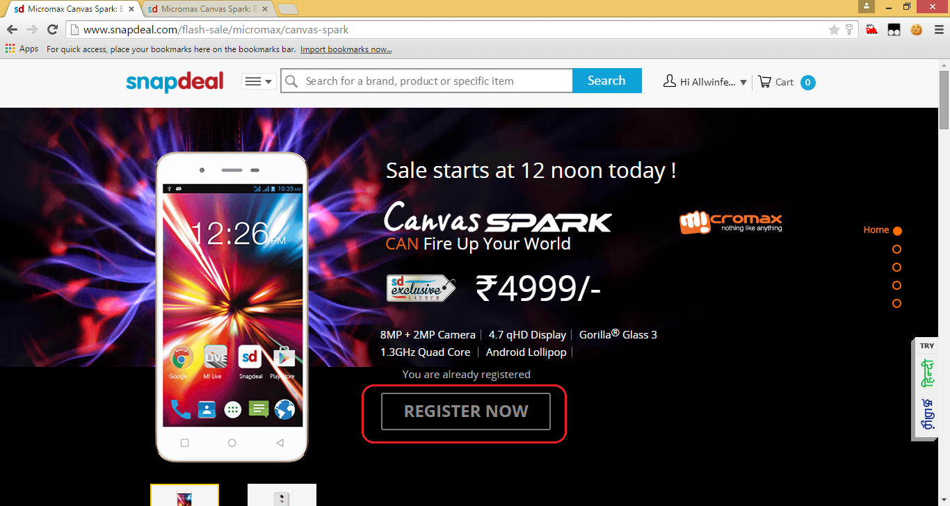 MicromaxCanvasSpark_Timer_page_Before_BuyNow_button