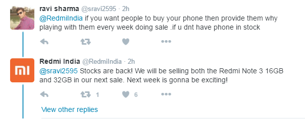 Redmi Note 3 32GB sale twitter