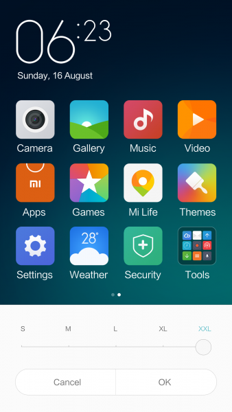 Real Time Changes in Changing Font Size_MIUI7_3