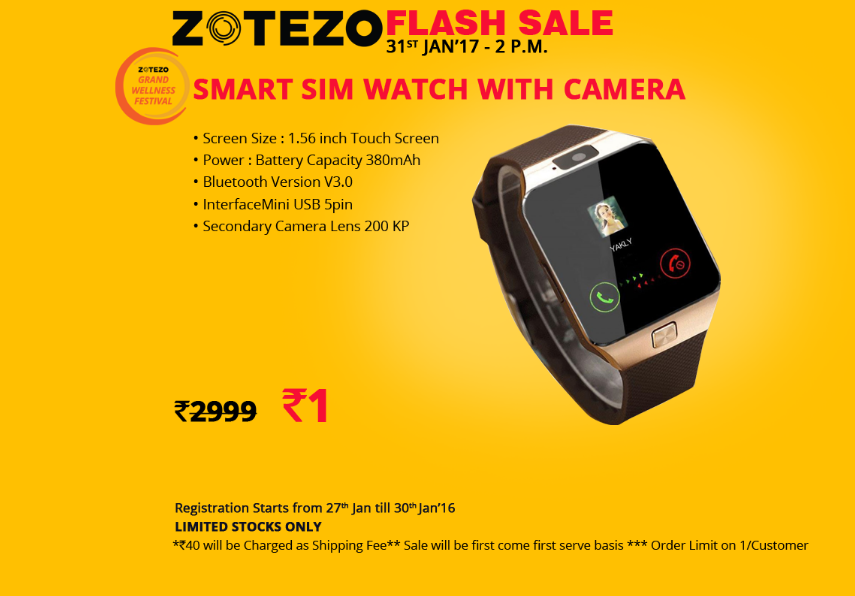Buy Smart SIM Watch With Camera for Re 1 from Zotezo Flash sale