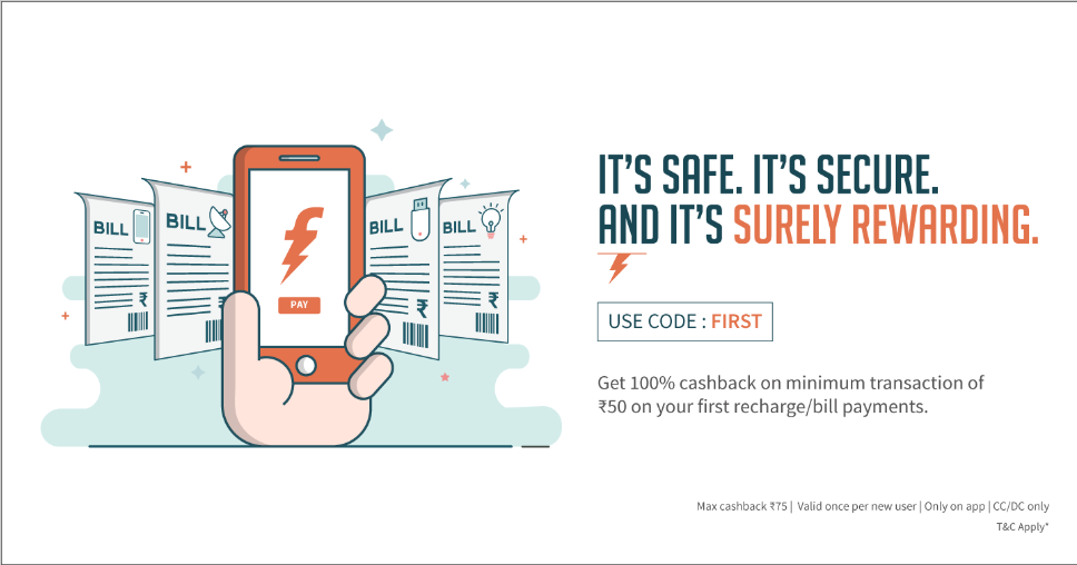 Freecharge Loot   Get Cashback upto Rs 75 on Recharges & Bill