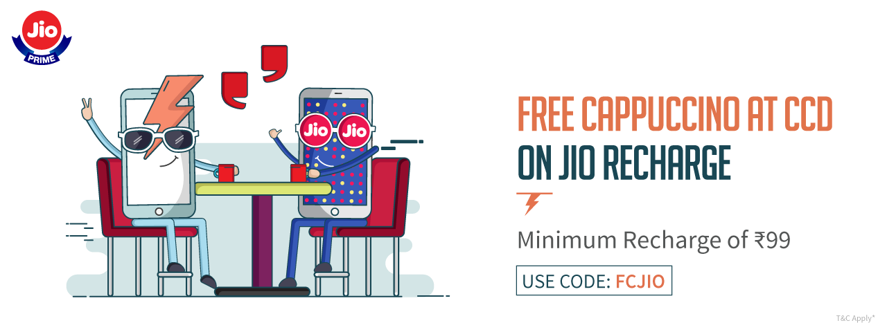 Freecharge Offer | Get Free CCD Cappuccino on Jio Recharge