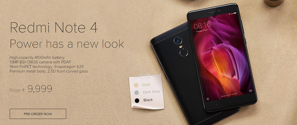 Preorder Now Redmi Note 4 from Mi India