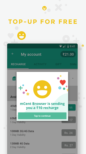 mCent Browser App   Get Rs 10 Free Recharge Instantly