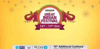 Amazon Great Indian Festival (14-17 Oct) | 10% Cashback on SBI Cards