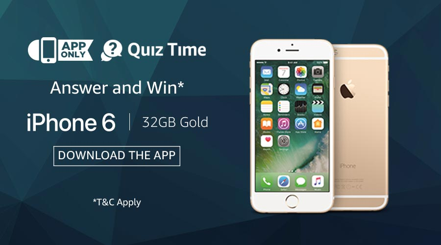 ab58925db49ac1 Amazon App Quiz Time | Win iPhone 6 (32GB Gold). Answers all the 5  Questions Correctly & If You Are Lucky then you will win brand new iPhone 6  (32GB Gold).