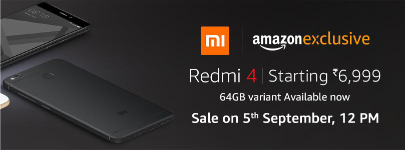 Buy Redmi 4 starting at Rs.6,999* from Amazon India