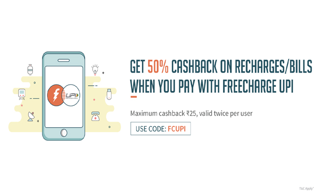 Freecharge | Get 50% Cashback on Recharge or Bill Payment