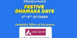 Flipkart Festive Dhamaka Days (05-08 Oct) | 10% Cashback with Axis Bank Cards