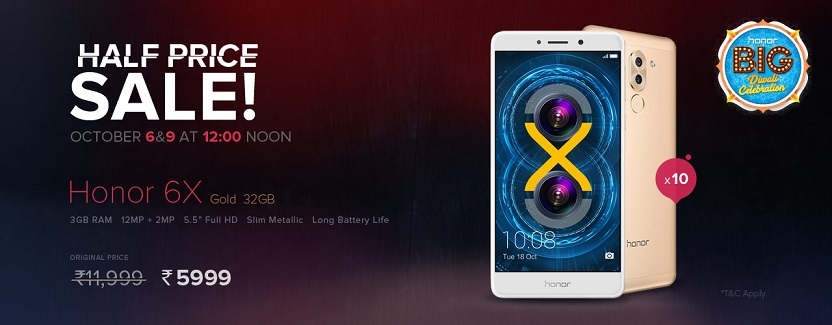 Buy Honor 6x for Rs.5999 from Honor Flash Sale