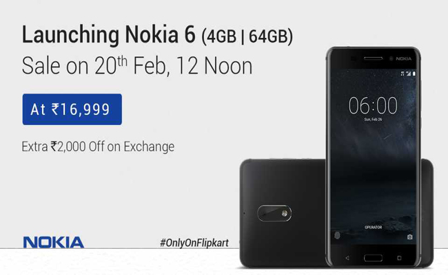 Buy Nokia 6 for Rs.16,999 from Flipkart