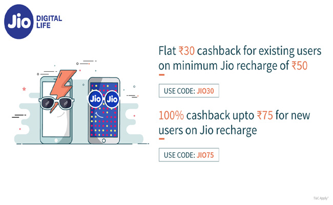 Freecharge | Get Upto Rs  75 Cashback on Jio Recharge