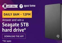 Amazon Quiz Time 20 Aug 2019 | Answer & Win Seagate 5TB Hard Drive