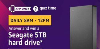 Amazon Quiz Time 12 Oct 2019 | Answer & Win Seagate 5TB Hard Drive