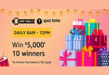 Amazon Quiz Time 26 Aug 2019 | Answer & Win Rs 5000 Pay Balance