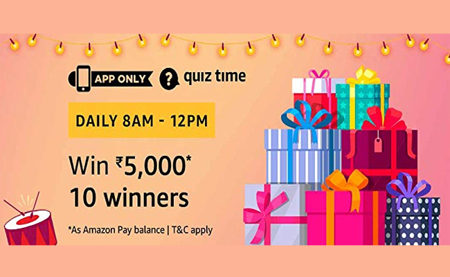 Amazon Quiz Time 22 April 2019   Answer & Win Rs 5000 Pay Balance