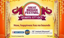 Amazon Great Indian Festival sale 2020 | 10% Instant Discount on HDFC Debit/Credit Cards & EMI