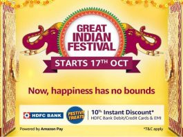 Amazon Great Indian Festival sale 2020 | 10% Instant Discount on HDFC Debit/Credit Cards & EMI