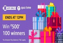 Amazon Quiz Time 18 March 2019 | Answer & Win Rs 500 Pay Balance