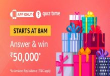 Amazon Quiz Time 28 May 2020 | Answer & Win Rs 50,000 Pay Balance