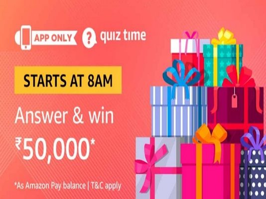 Amazon Quiz Time 30 Mar 2020 | Answer & Win Rs 50,000 Pay Balance