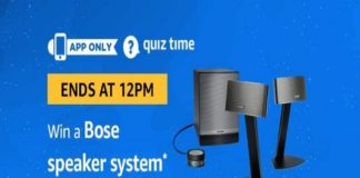 Amazon Quiz Time 15 Oct 2019 | Answer & Win a Bose Speaker System