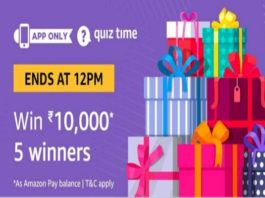 Amazon Quiz Time 21 Oct 2020 | Answer & Win Rs 10000 Pay Balance