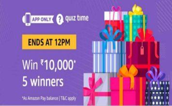Amazon Quiz Time 28 Nov 2020   Answer & Win Rs 10000 Pay Balance