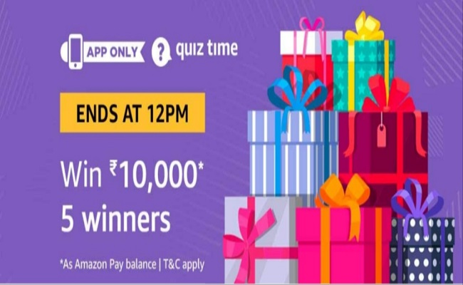 Amazon Quiz Time 24 June 2019   Answer & Win Rs 10000 Pay Balance