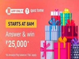 Answers Added] Amazon Quiz Time | Answer & Win a OnePlus 7