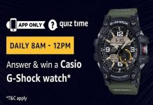 Amazon Quiz Time 29 Oct 2020| Answer & Win a Casio G-Shock Watch