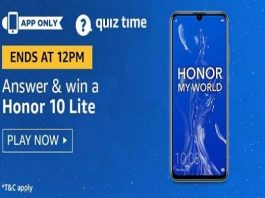 Amazon Quiz Time 21 Aug 2019 | Answer & Win a Honor 10 Lite