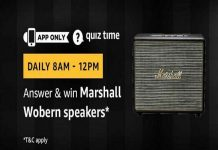 Amazon Quiz Time 17 Aug 2019 | Answer & Win Marshall Wobern Speakers