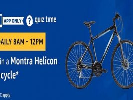 Amazon Quiz Time 21 March 2019 | Answer & Win Montra Helicon Bicycle