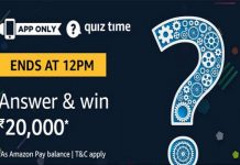 Amazon Quiz Time 20 May 2019 | Answer & Win Rs 20,000 Pay Balance
