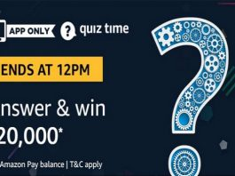 Amazon Quiz Time 03 Aug 2020 | Answer & Win Rs 20,000 Pay Balance