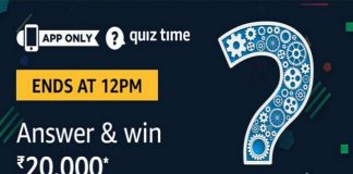 Amazon Quiz Time 16 Jan 2020 | Answer & Win Rs 20,000 Pay Balance