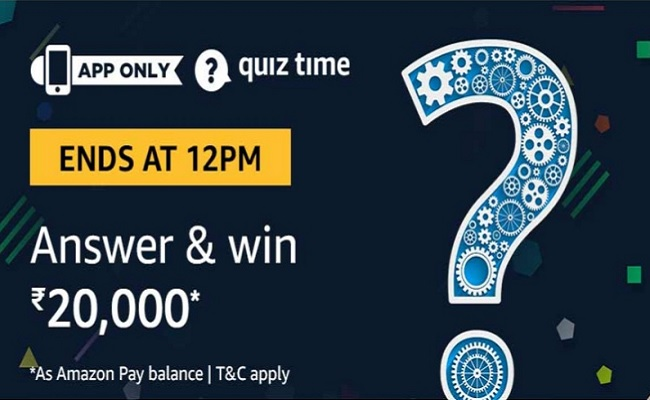 Amazon Quiz Time 14 Oct 2019 | Answer & Win Rs 20,000 Pay Balance