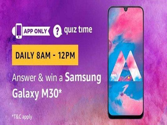 Amazon Quiz Time 26 June 2019 | Answer & Win a Samsung Galaxy M30