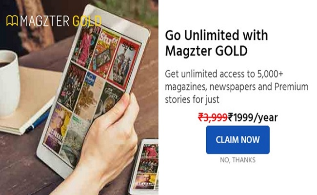 Magzter Gold Subscription for Rs 1,999