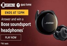 Amazon Quiz Time 18 Jan 2020 | Answer & Win a Bose soundsport headphones