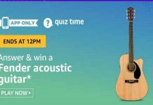 Amazon Quiz Time 06 June 2020 | Answer & Win a Fender Acoustic Guitar
