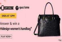 Amazon Quiz Time 17 Sept 2019 | Answer & Win a Hidesign Women's Handbag