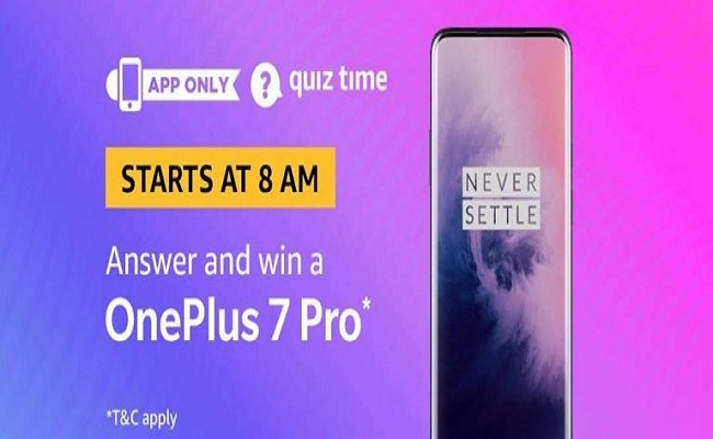 Amazon Quiz Time 15 May 2019 | Answer & Win a OnePlus 7 Pro