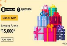Amazon Quiz Time 30 Nov 2020 | Answer & Win Rs 15,000 Pay Balance