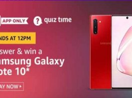 Amazon Quiz Time 02 Aug 2020 | Answer & Win a Samsung Galaxy Note 10