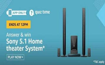 Amazon Quiz Time 28 Jan 2020 | Answer & Win a Sony 5.1 Home Theatre System