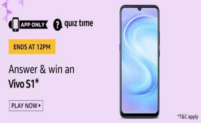Amazon Quiz Time 24 May 2020   Answer & Win an Vivo S1